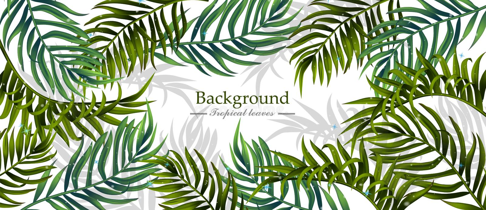 Tropical leaves Vector realistic background. Summer hot banner templates vector illustration
