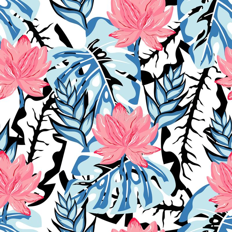 Tropical lotus pattern royalty free illustration