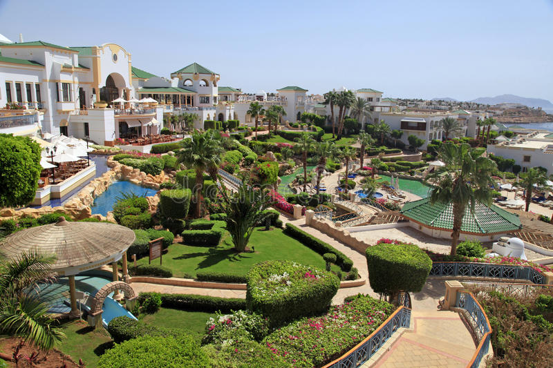 Tropical luxury resort hotel, Egypt. royalty free stock image
