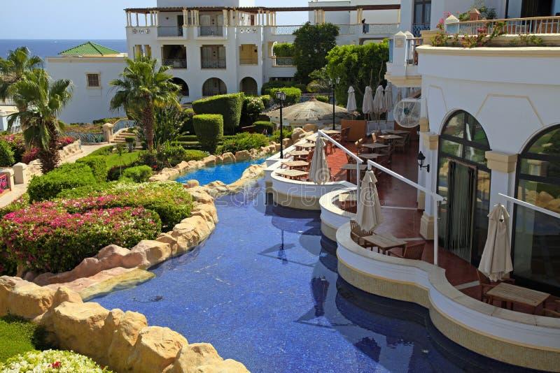 Tropical luxury resort hotel, Sharm el Sheikh, Egypt. Tropical luxury resort hotel on Red Sea beach in Sharm el Sheikh, Egypt royalty free stock images