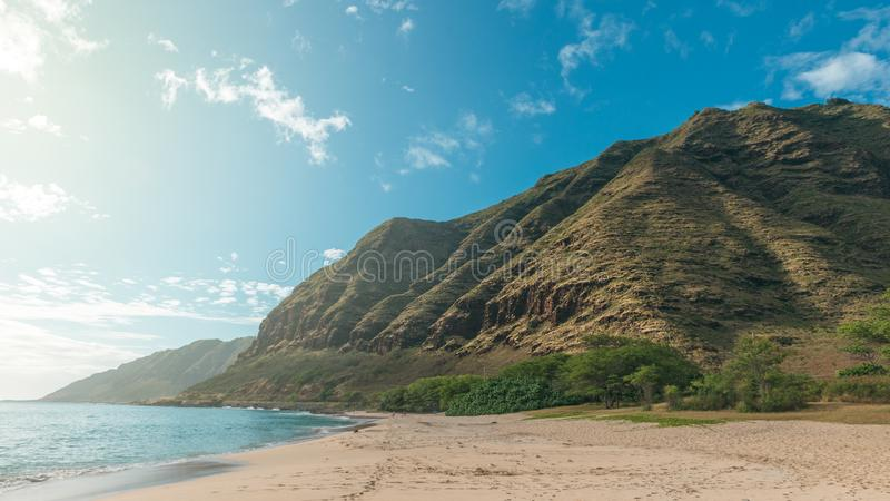 Tropical Makua beach view with mountains and blue sky royalty free stock photos