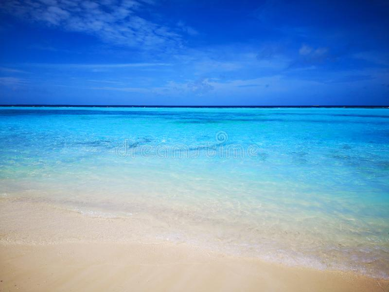 Tropical Maldives beach with white sand and blue sky. royalty free stock images