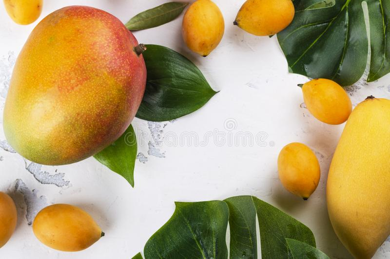 Tropical mango fruits. Assortment of tropical mango fruit with green leaves on white background. Copy space stock photos