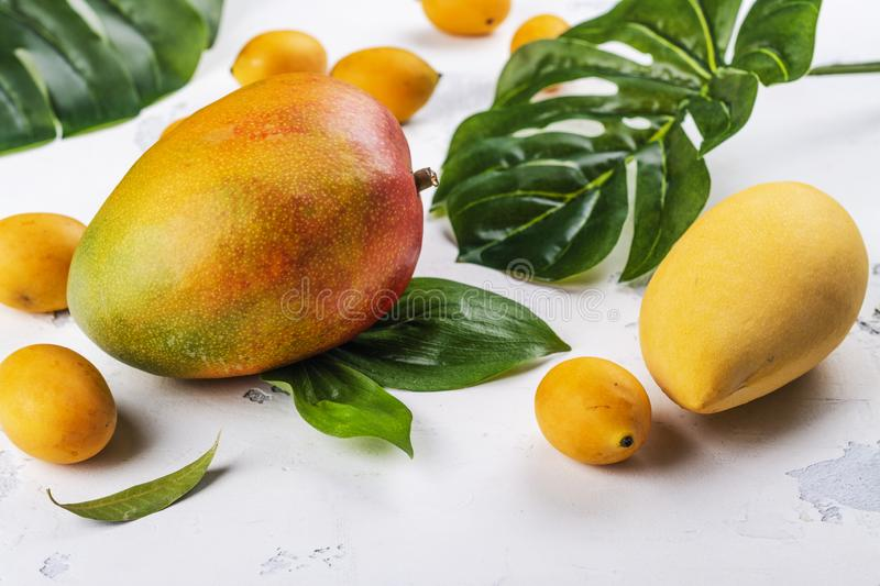 Tropical mango fruits. Assortment of tropical mango fruit with green leaves on white background. Copy space royalty free stock photos