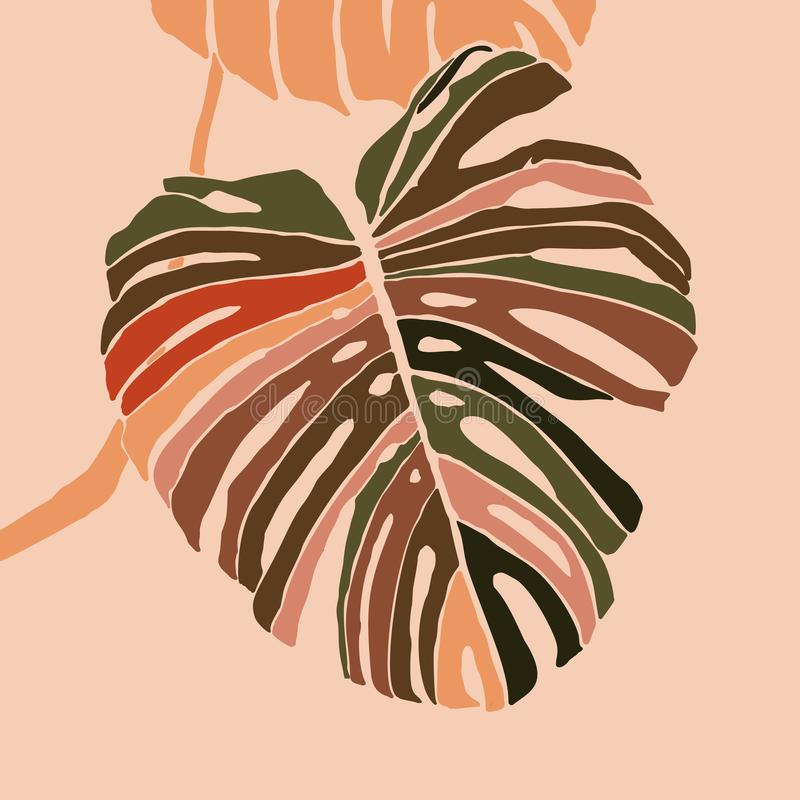 Tropical monstera leaves in a minimalist style. Silhouette of a plant in a contemporary style. Vector illustration stock illustration