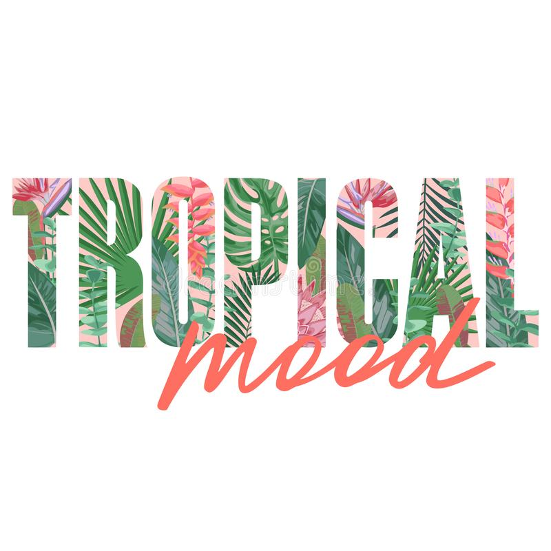 Tropical Mood t-shirt print with exotic plants. Tropical Mood t-shirt print with exotic plants and flowers on black background. Typography with floral pattern vector illustration