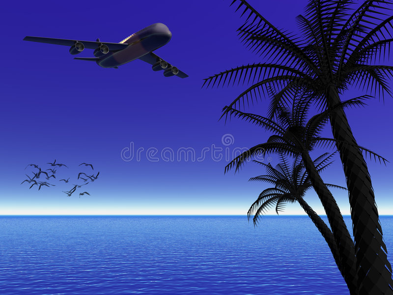 Tropical moon night with airplane. royalty free illustration