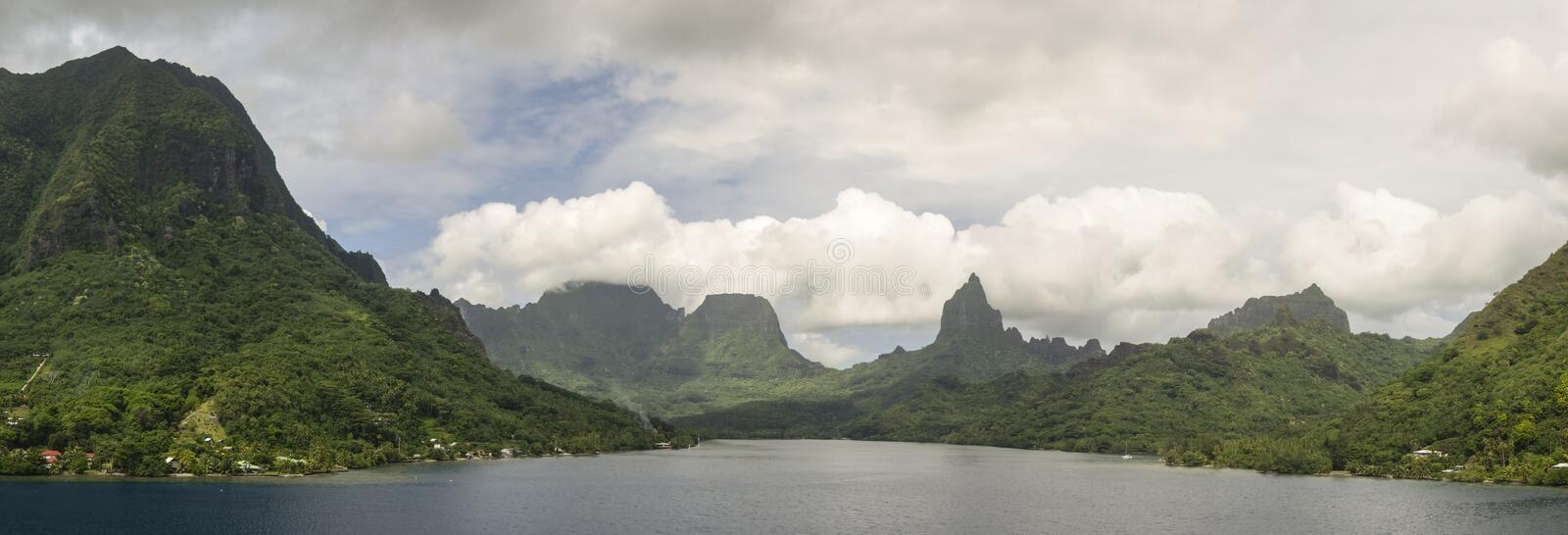 Tropical Moorea Panorama royalty free stock photos