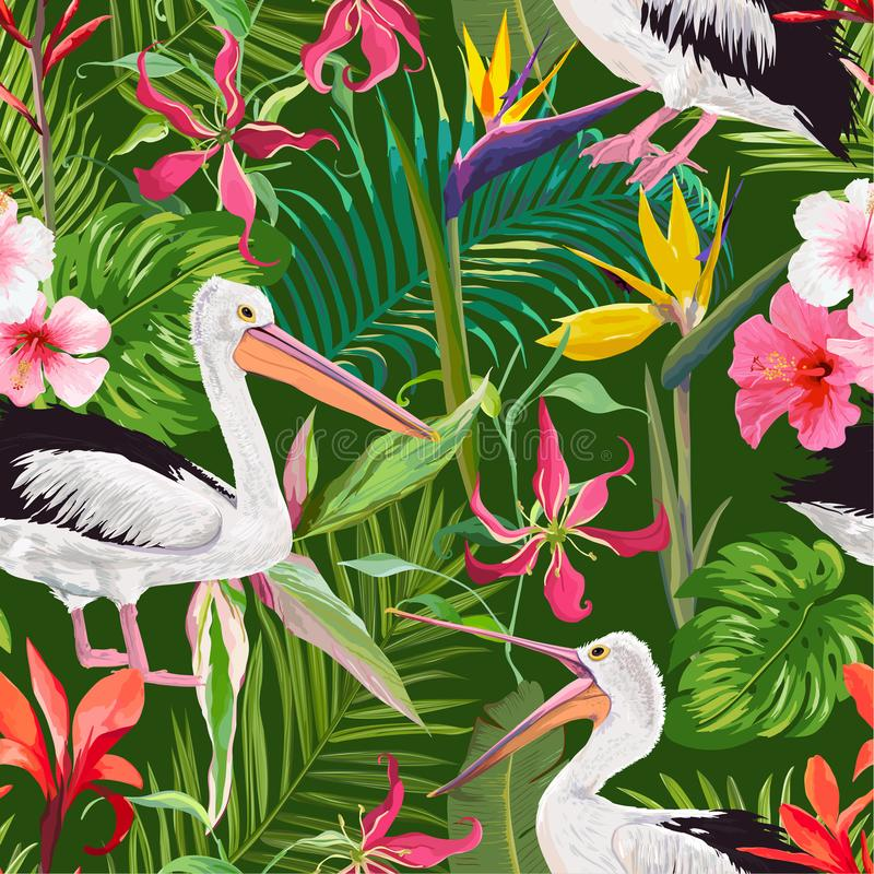 Tropical Nature Seamless Pattern with Pelicans and Flowers. Floral Background with Waterbirds for Fabric, Wallpaper vector illustration