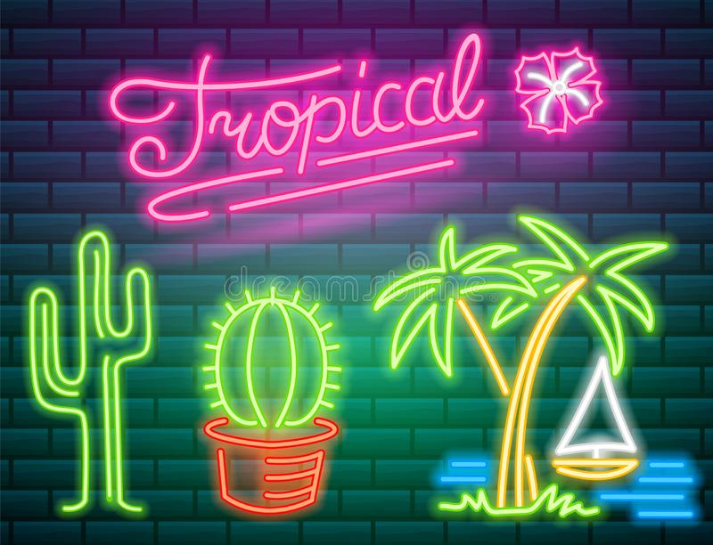 Tropical neon signs. Cactus and palm. Summer logo for Club or bar on dark background. Night bright signboard, Glowing. Light banner. Editable vector royalty free illustration