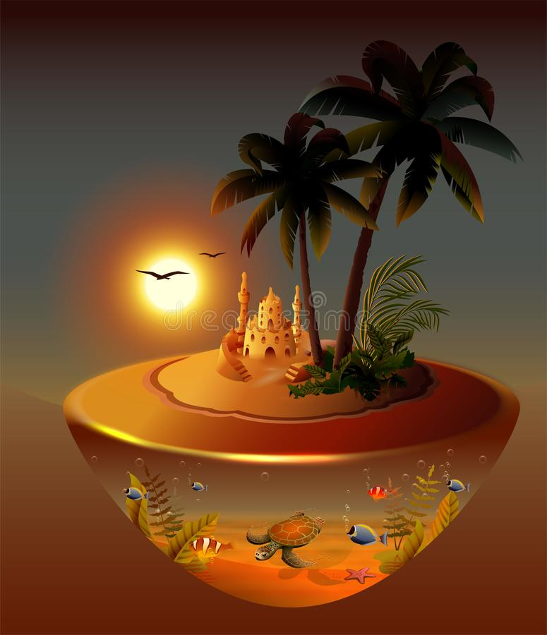 Tropical night island palm trees, sea, sand castle, moon, underwater world royalty free illustration