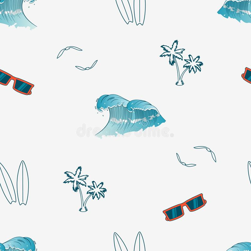 Seamless pattern with hand drawn elements - palm trees, surfboards, waves, sunglasses and gull birds. Vector. Illustration royalty free illustration