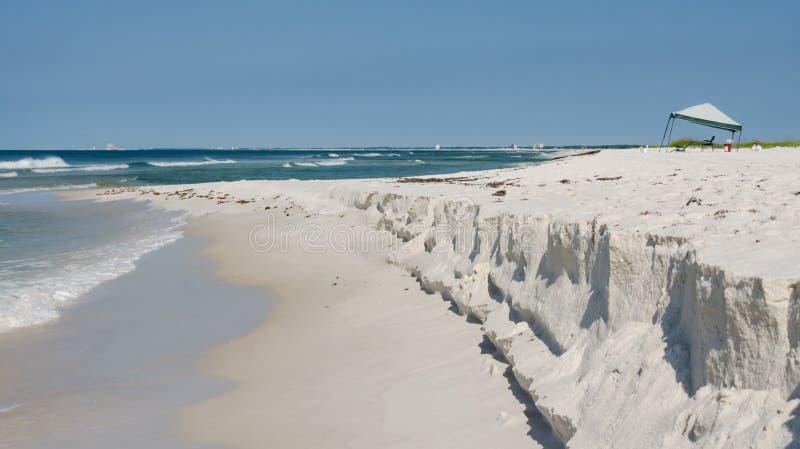 Tropical ocean beach landscape scene. Beautiful scenic tourist travel destination location. Relaxing Gulf Coast seaside beaches stock photography