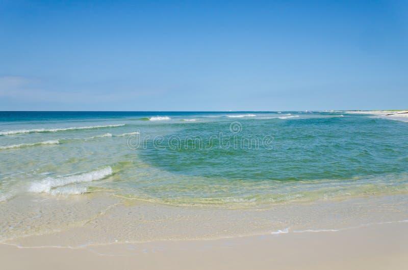 Tropical ocean beach landscape scene. Beautiful scenic tourist travel destination location. Relaxing Gulf Coast seaside beaches stock photos
