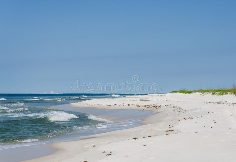 Tropical ocean beach landscape scene. Beautiful scenic tourist travel destination location. Relaxing Gulf Coast seaside beaches.n royalty free stock images