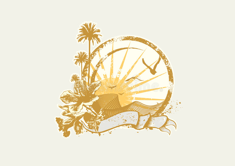 Tropical ocean coast stock illustration