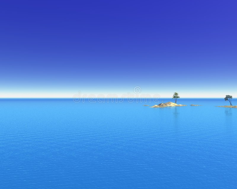 Tropical Ocean Islands. Digital render of a tropical sea with distant islands and palm trees royalty free illustration