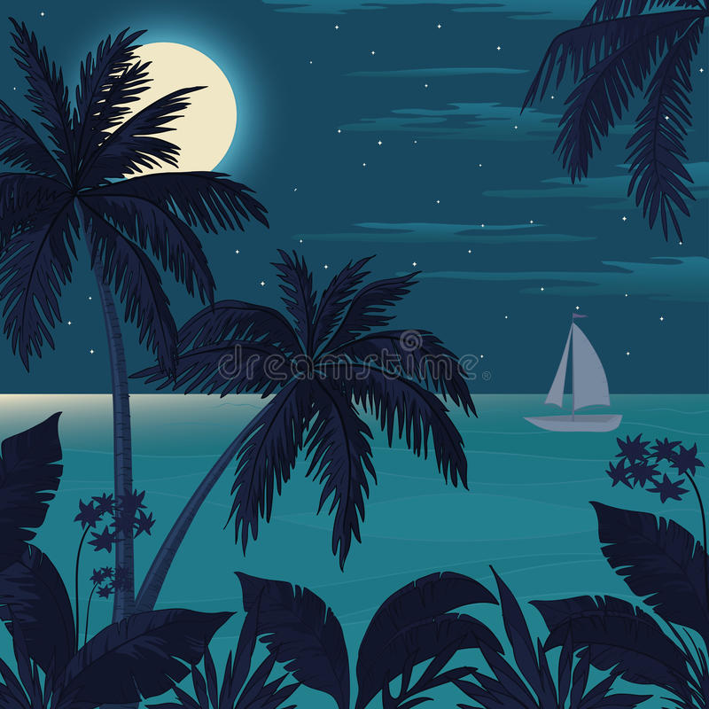 Tropical ocean landscape with palm trees royalty free illustration