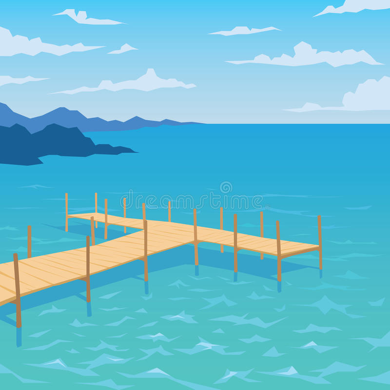 Tropical ocean landscape with wooden dock. Summer sky, clouds. Vector illustration of seascape with pier in flat faceted style for design, articles, print vector illustration