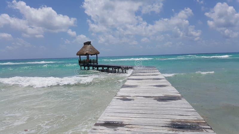 Tropical ocean pier royalty free stock photo