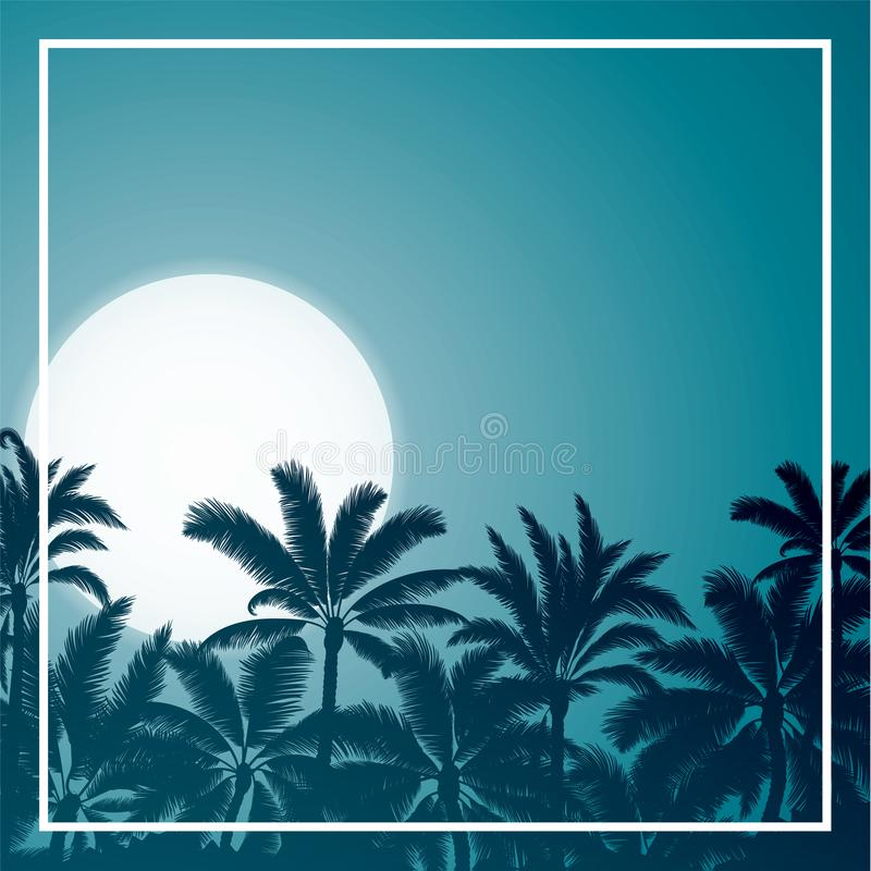 Download Tropical Palm With Blue Moon Sunrise And Night Sky Stock Vector - Illustration of coast, island: 109832790