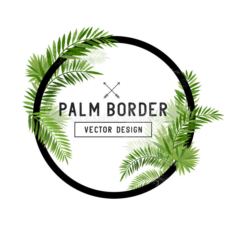 Free Tropical Palm Leaf Border Vector Royalty Free Stock Photography - 68661197