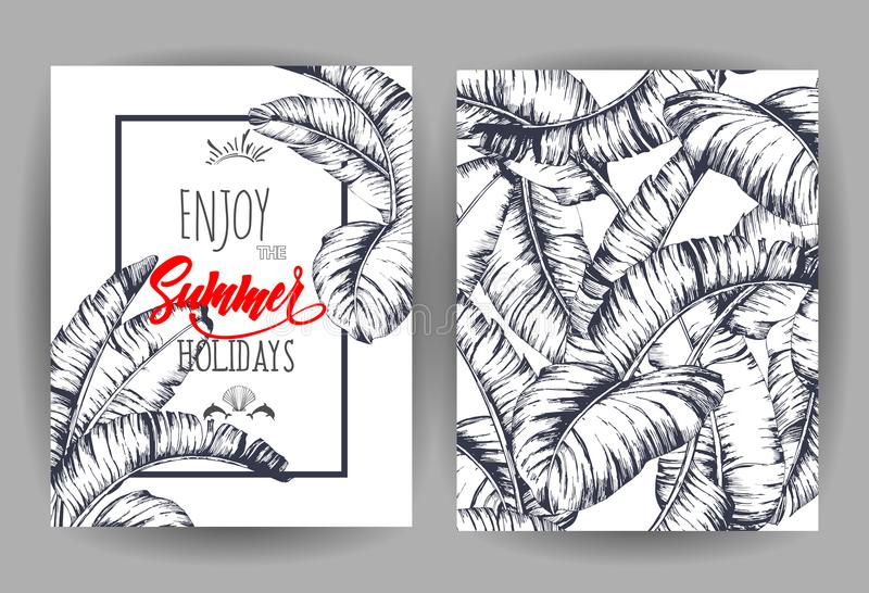 Tropical palm leaves background invitation or card design with download tropical palm leaves background invitation or card design with jungle leaves vector illustration stopboris Images