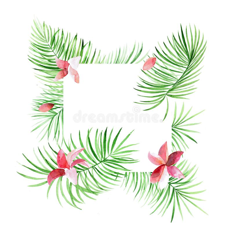 Tropical palm leaves border with pink flowers. Exotic tree foliage made in watercolor style with place for your text. royalty free illustration