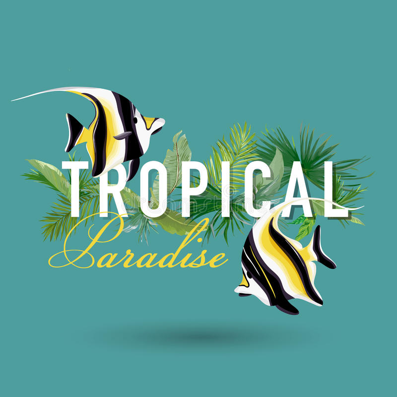 Tropical Palm Leaves and Exotic Fish Graphic Design for Tshirt, Fashion, Prints. In vector royalty free illustration