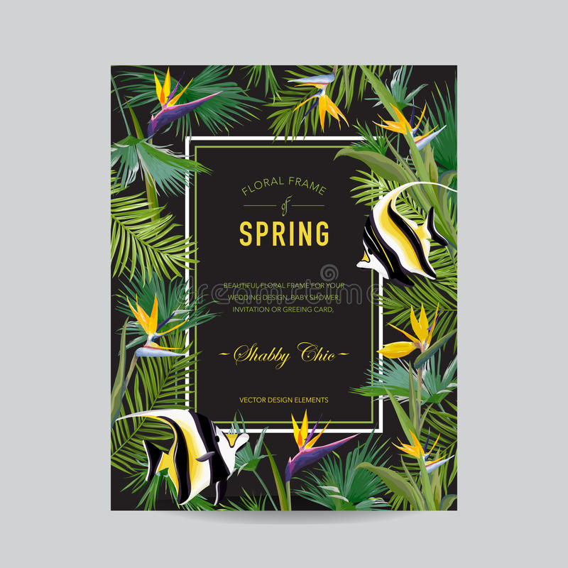 Tropical Palm Leaves, Flowers and Exotic Fish Card, Graphic Tshirt Design, Jungle Background. In Vector royalty free illustration