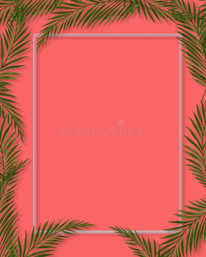 Tropical palm leaves frame on coral backdrop. Summer tropical leaf. Exotic hawaiian jungle, summertime background. Pastel royalty free illustration