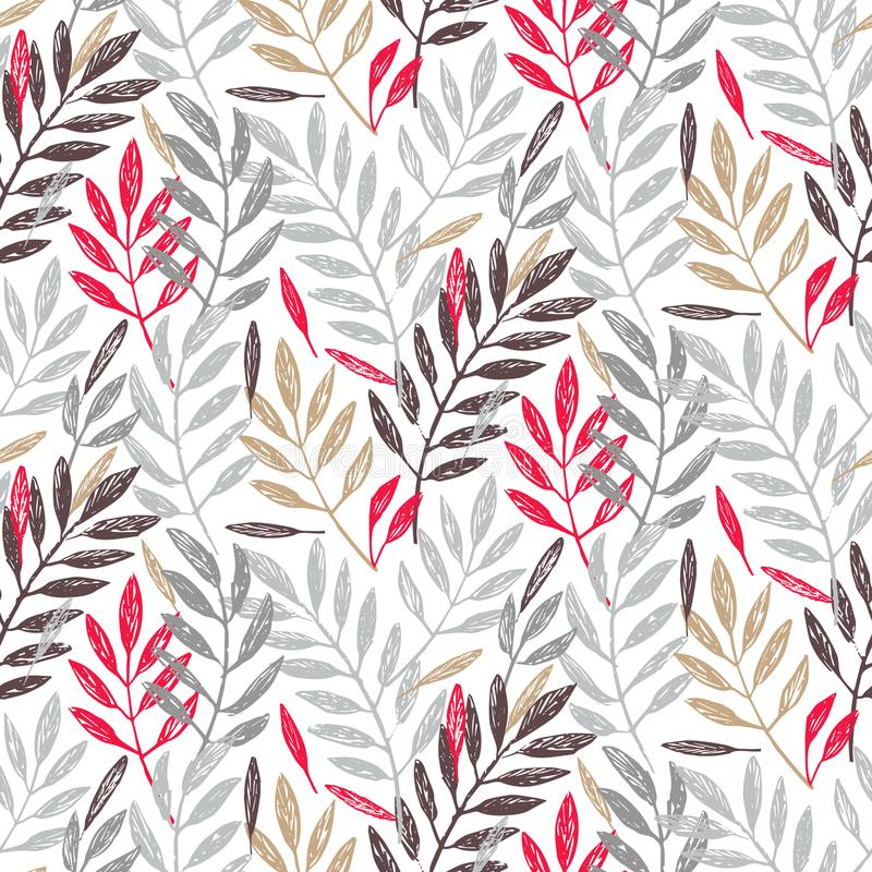 Tropical palm leaves in grey, red and gold colors, seamless foliage pattern. Tropical palm leaves, seamless foliage pattern. Vector illustration. Tropical jungle royalty free illustration