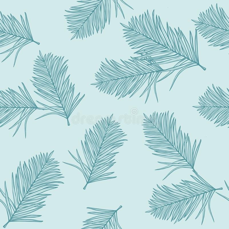 Tropical palm leaves, light blue background. Vector seamless pattern. Jungle foliage illustration. Exotic plants. Summer beach flo. Ral design. Paradise nature royalty free illustration