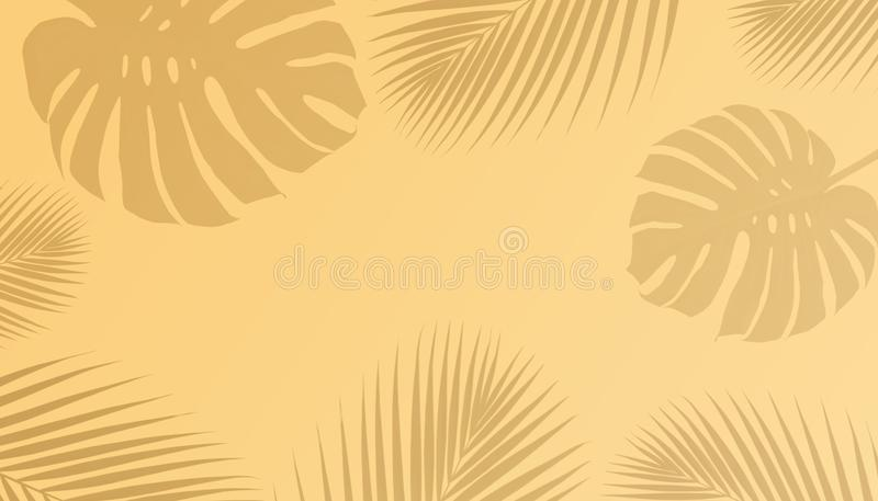 Tropical palm leaves and monstera shadow with copy space stock illustration