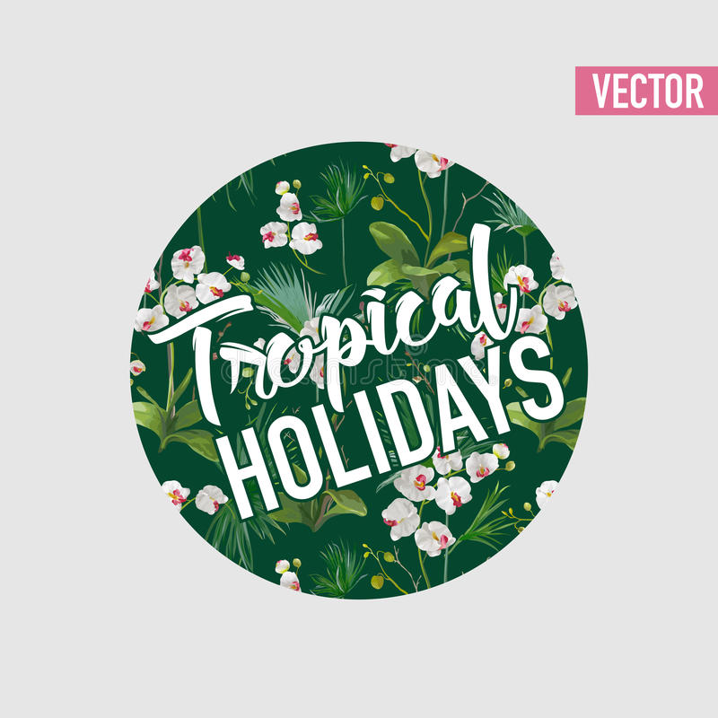 Tropical Palm Leaves and Orchid Flowers Background. Graphic Tshirt. Design in Vector vector illustration