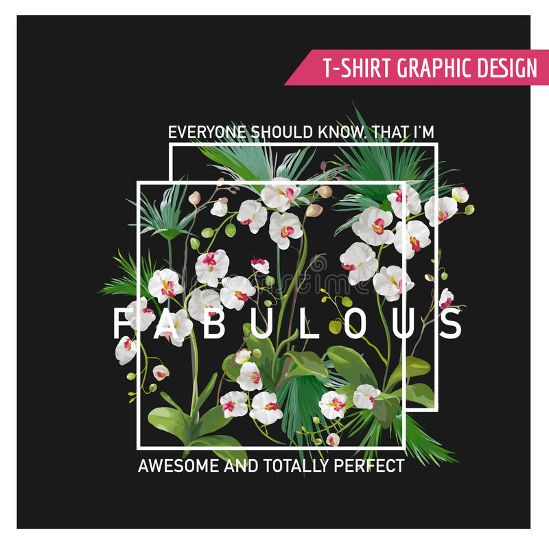 Tropical Palm Leaves and Orchid Flowers Background. Graphic Tshirt. Design in Vector stock illustration