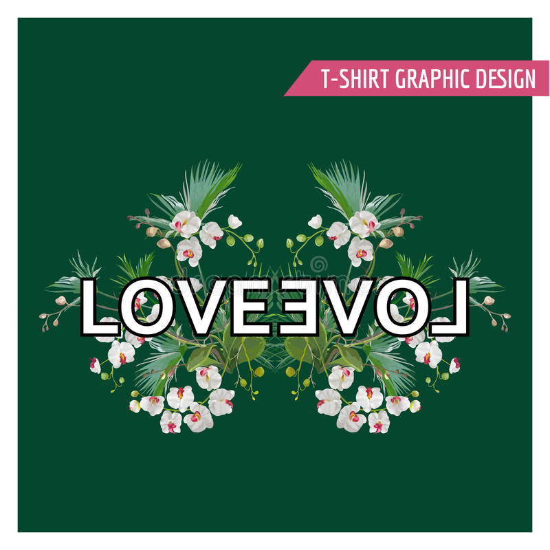 Tropical Palm Leaves and Orchid Flowers Background. Graphic Tshirt. Design in Vector royalty free illustration