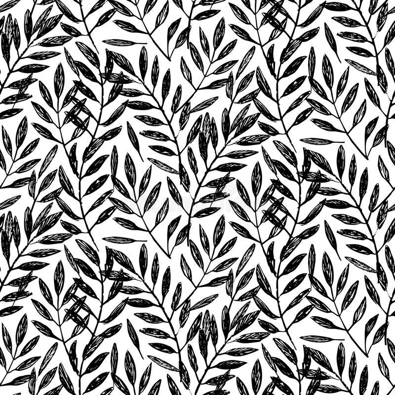 Tropical palm leaves, seamless foliage pattern stock illustration