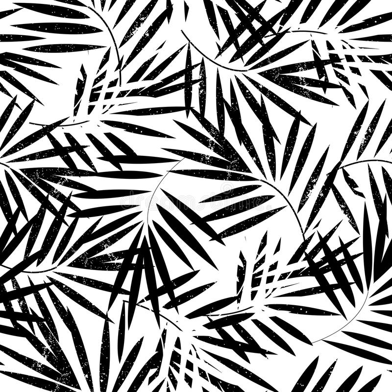 Tropical palm leaves seamless pattern. Vector illustration. royalty free illustration