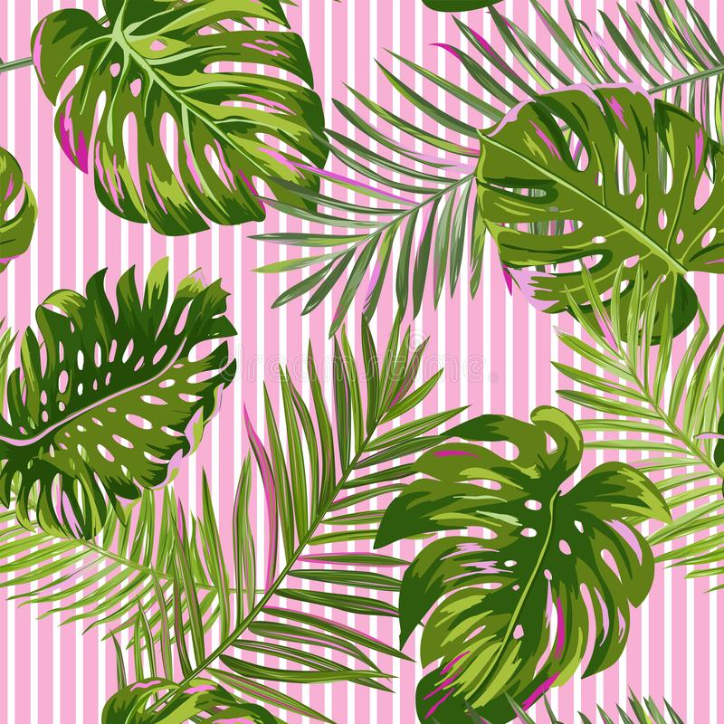 Tropical Palm Leaves Seamless Pattern. Watercolor Floral Background. Exotic Botanical Design for Fabric, Textile vector illustration