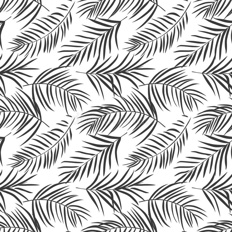 Download Tropical Palm Leaves On White Seamless Pattern Stock Vector