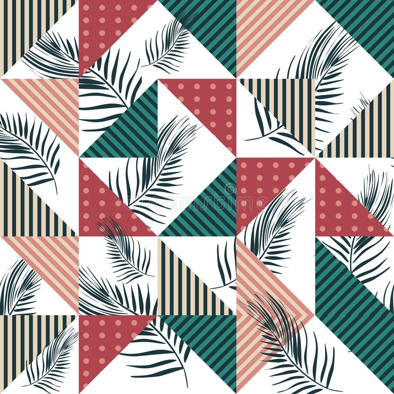 Free Tropical Palm Leaves With Geometric Triangle Colorful Seamless Pattern Vector. Royalty Free Stock Photography - 130124577