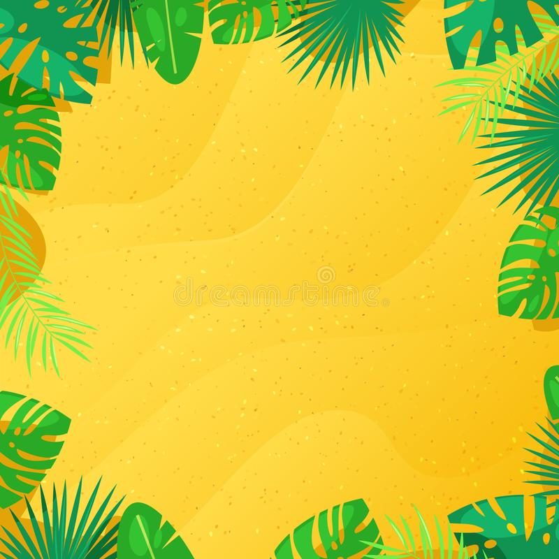 Tropical palm leaves and yellow sand texture background. Vector frame with place for text. Summer cartoon illustration. stock illustration