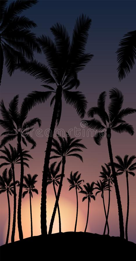 Download Tropical Palm With Orange Sun Sunset And Blue Sky Stock Vector - Illustration of postcard, landscape: 109832624