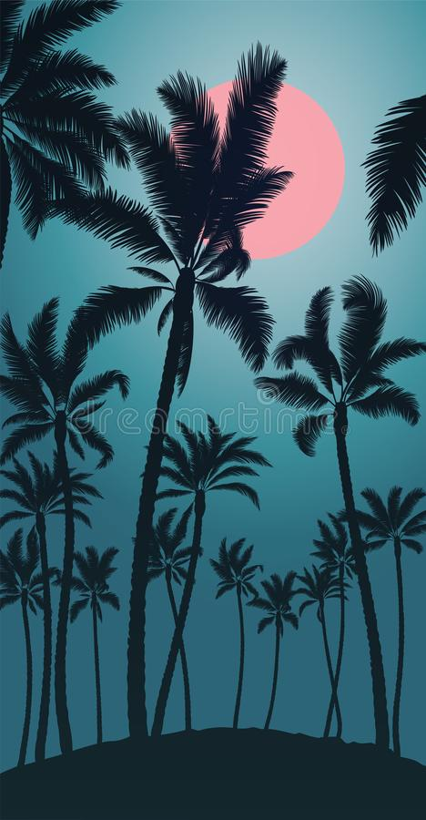Download Tropical Palm With Pink Moon Sunrise And Blue Sky Stock Vector - Illustration of dark, journey: 109854717