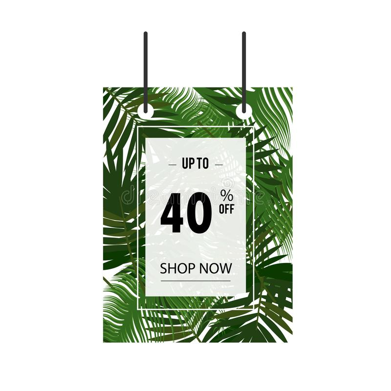 Tropical palm tree background 40$ summer Sale banner template design. Big sale special offer. Tropical 40% Special offer vector royalty free illustration