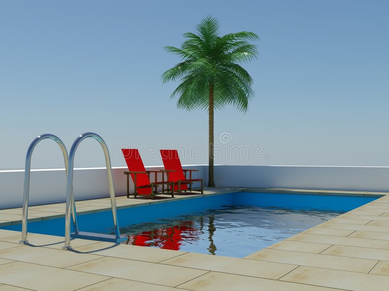 Tropical Palm Tree Swimming Pool Royalty Free Stock Image