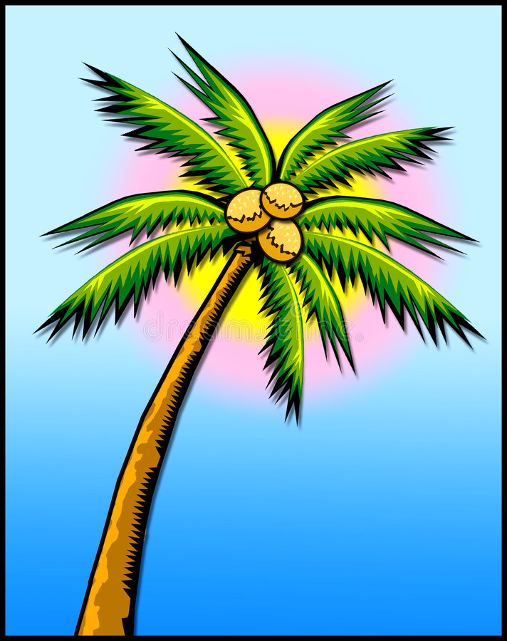 Tropical palm tree w/sun. Colorful cartoon illustration of a palm tree framed by the sun-- perfect for a travel agent royalty free illustration
