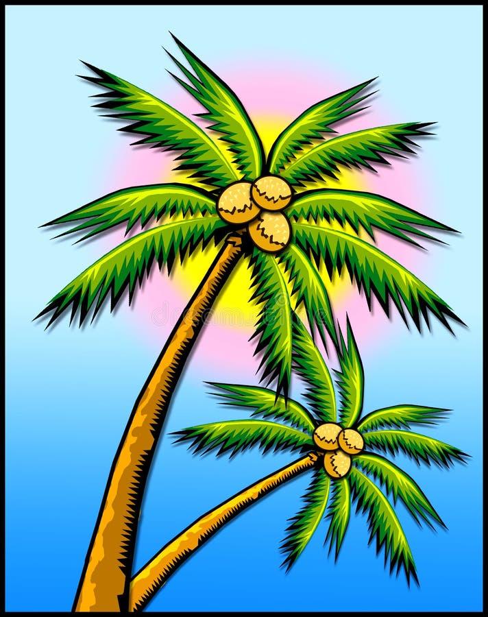 Tropical palm trees w/sun stock photo