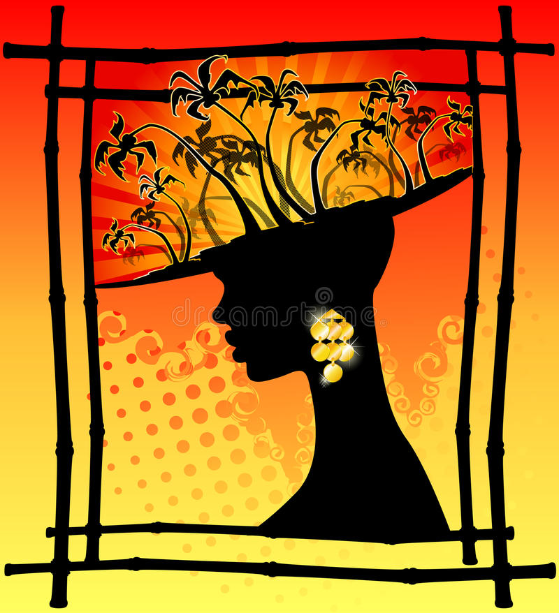 Tropical palms and African girl stock illustration